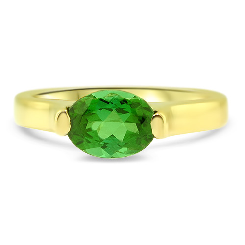 Maine Green Tourmaline Yellow Gold Ring