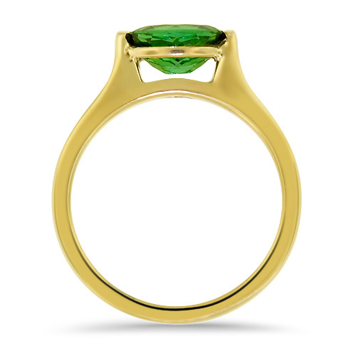 Maine Green Tourmaline Yellow Gold Ring Profile
