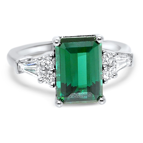 Maine Blue Green Tourmaline and Diamond Ring
