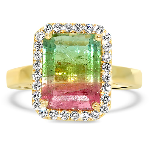 Watermelon Tourmaline Ring with Diamond Halo