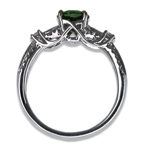 Maine Green Tourmaline Diamond Ring Profile