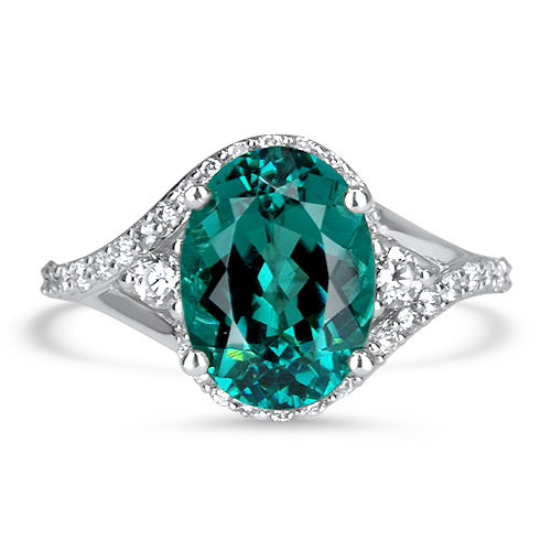 Blue Tourmaline and Diamond By Pass Ring White Gold