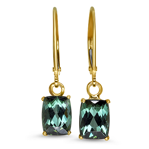 Green Cushion Tourmaline Dangle Earrings 14KY