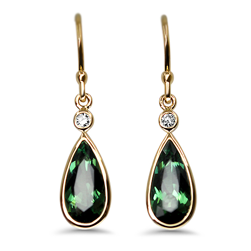Maine Green Tourmaline Dangle Earrings