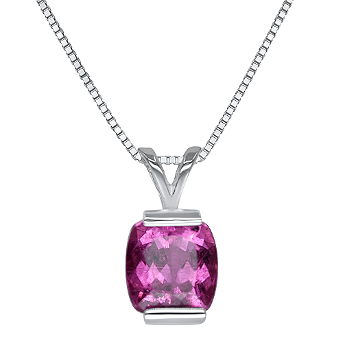 Pink Tourmaline Cushion Pendant in 14KW
