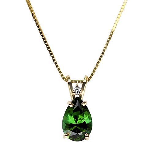Maine Green Tourmaline and Diamond Pendant