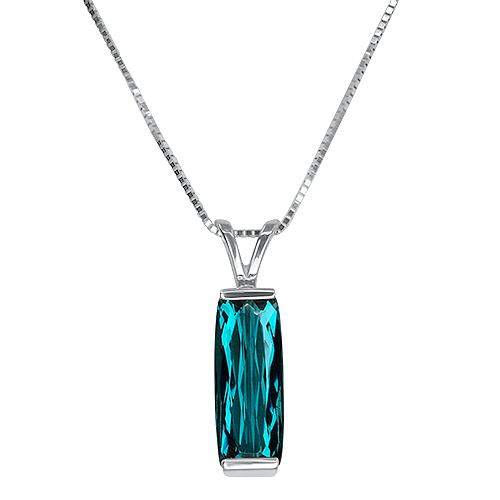 Blue Tourmaline Cushion Pendant 14KW