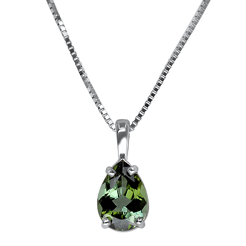 Maine Green Tourmaline Pendant in 14KW