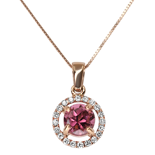 Pink Tourmaline and Diamond Halo in Rose Gold