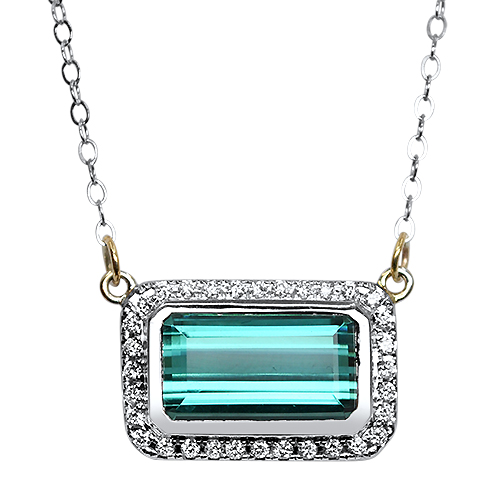 Blue Tourmaline and Diamond Halo Pendant