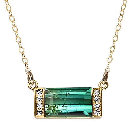 Blue to Green Tourmaline Bar Necklace