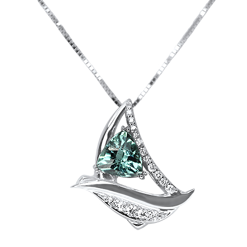 Seafoam Tourmaline Sailboat Pendant