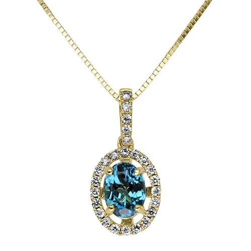 Blue Tourmaline Diamond Halo Pendant