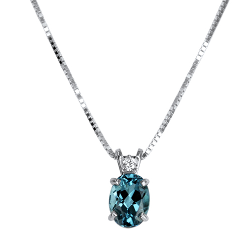 Blue Tourmaline and Diamond Pendant