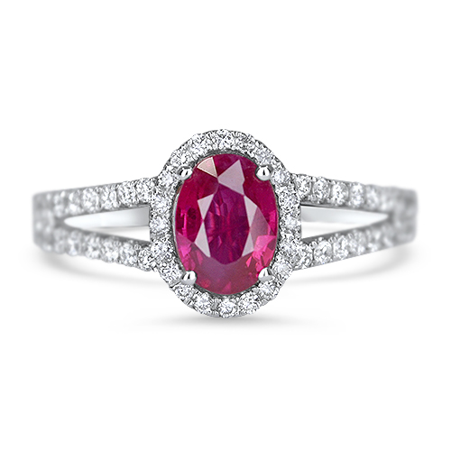 Ruby and Diamond Halo Ring White Gold