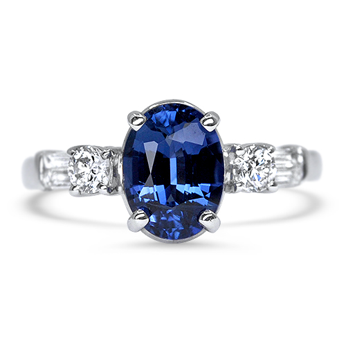 Blue Sapphire and Diamond Ring in White Gold