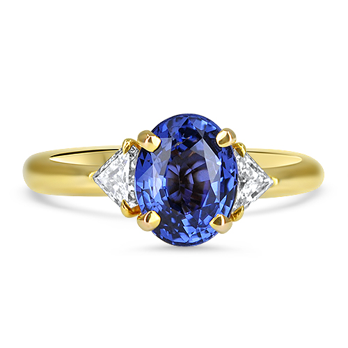 Blue Sapphire and Diamond Ring in Yellow Gold