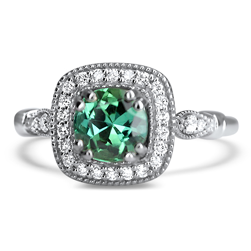 green tourmaline vintage style ring