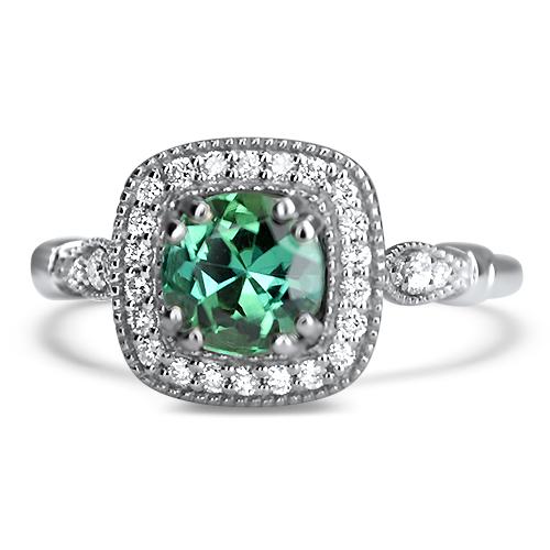 green tourmaline vintage style ring