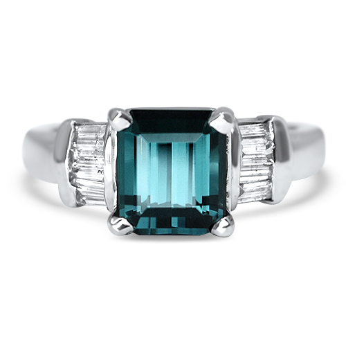 Maine Blue Tourmaline Ring with Diamonds