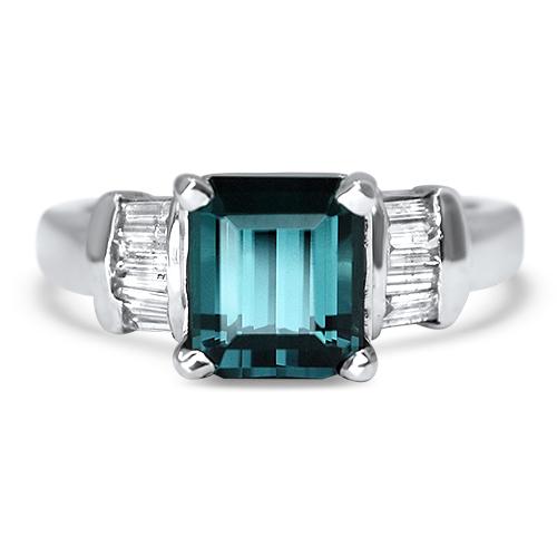 Maine Blue Tourmaline Ring with Diamonds