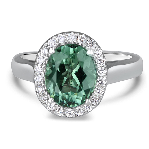 Green Tourmaline Halo Ring