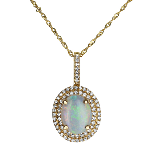 Opal and Diamond Halo Pendant
