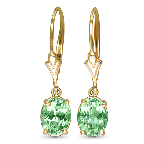 mint tourmaline dangle earrings in 14ky