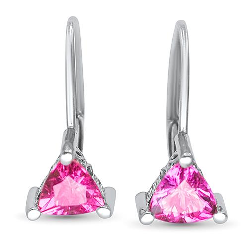 trillion pink tourmaline earrings 14kw