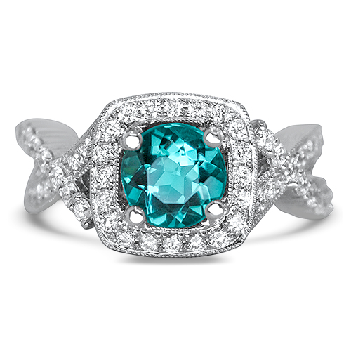 blue tourmaline and diamond ring with halo
