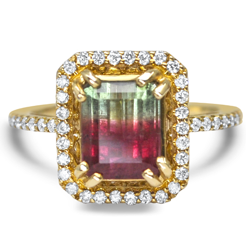 watermelon tourmaline and diamond ring in yellow gold