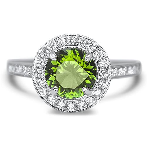 maine green tourmaline and diamond ring