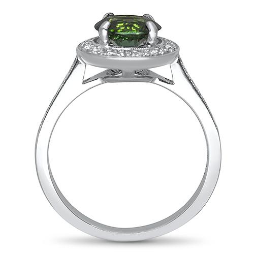 maine green tourmaline and diamond ring profile