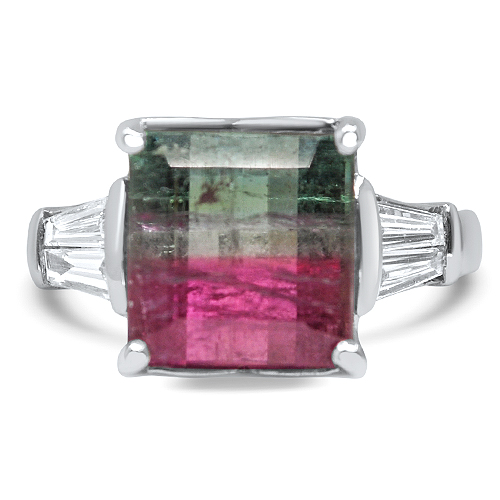 watermelon tourmaline ring set in white gold
