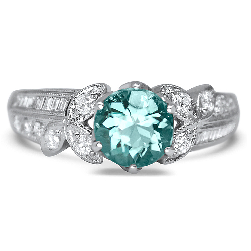 teal tourmaline in vintage white gold ring