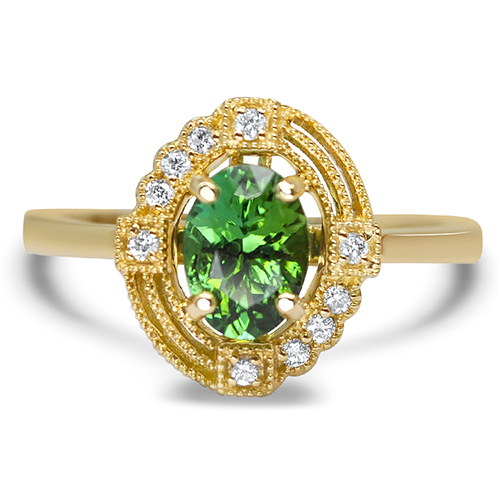 maine green tourmaline ring 14ky with diamonds