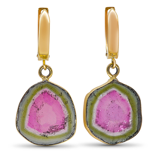 watermelon tourmaline slice earrings in 14ky