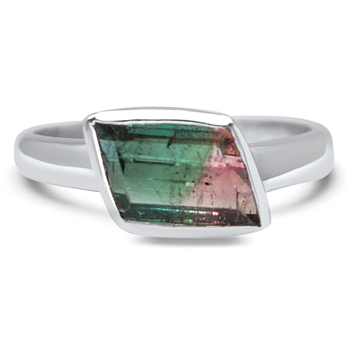 watermelon tourmaline east west 14kw ring