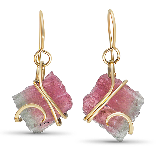 maine watermelon tourmaline wrap earrings 14ky