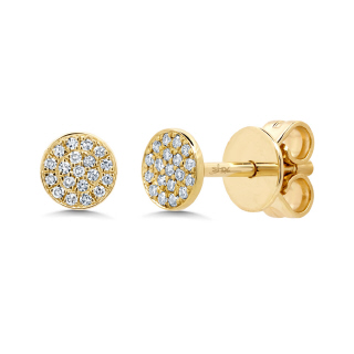 diamond pave circle studs 14KY