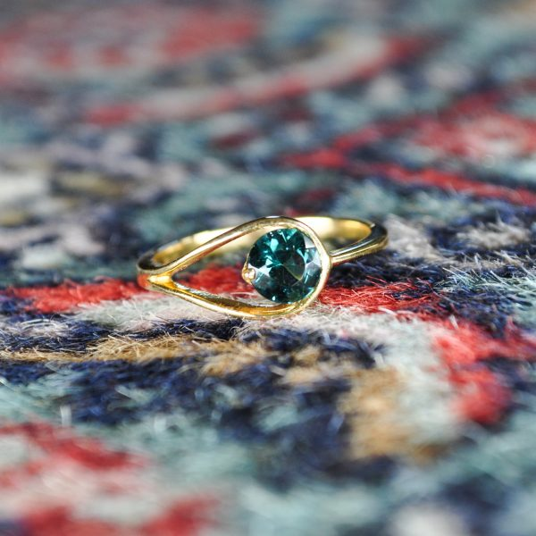 Round Blue Tourmaline Set in 14KY Ring