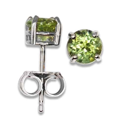 Round Bright Green Maine Tourmaline Stud Earrings 14KW