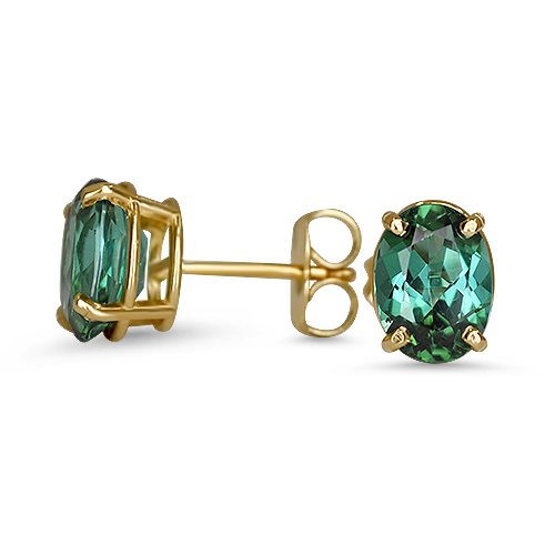 green tourmaline oval studs 14ky
