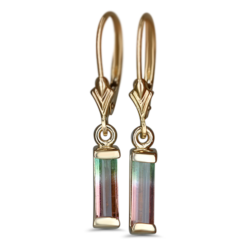 watermelon tourmaline dangle earrings in 14ky