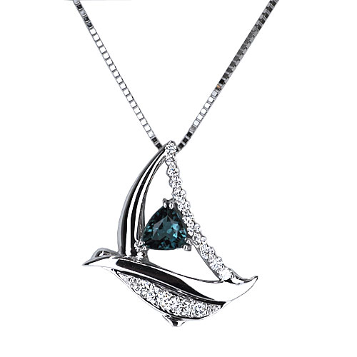 maine blue tourmaline sailboat pendant