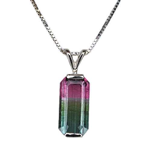 Tri Color Tourmaline Pendant 14KW