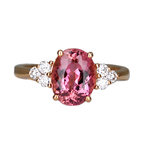 pink tourmaline in rose gold ring