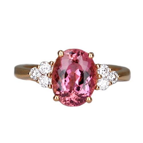 pink tourmaline in rose gold ring