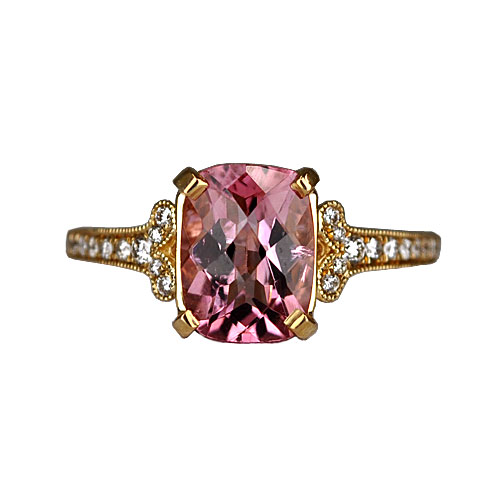 maine pink tourmaline and diamond ring