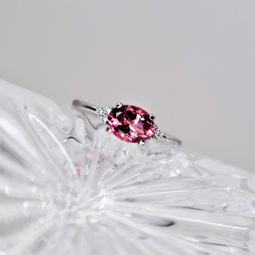 Maine Pink Tourmaline and Diamond Ring in 14K White Gold